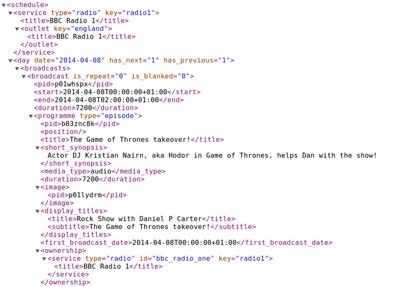 Screenshot of XML data representing the BBC Radio 1 schedule