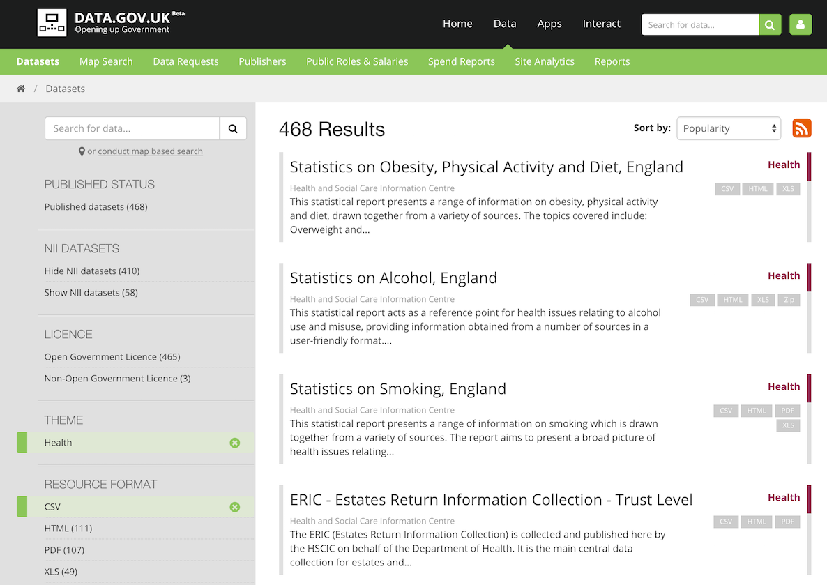 Screenshot of health-related CSV datasets on data.gov.uk