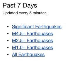 Screenshot of links for earthquake data feeds