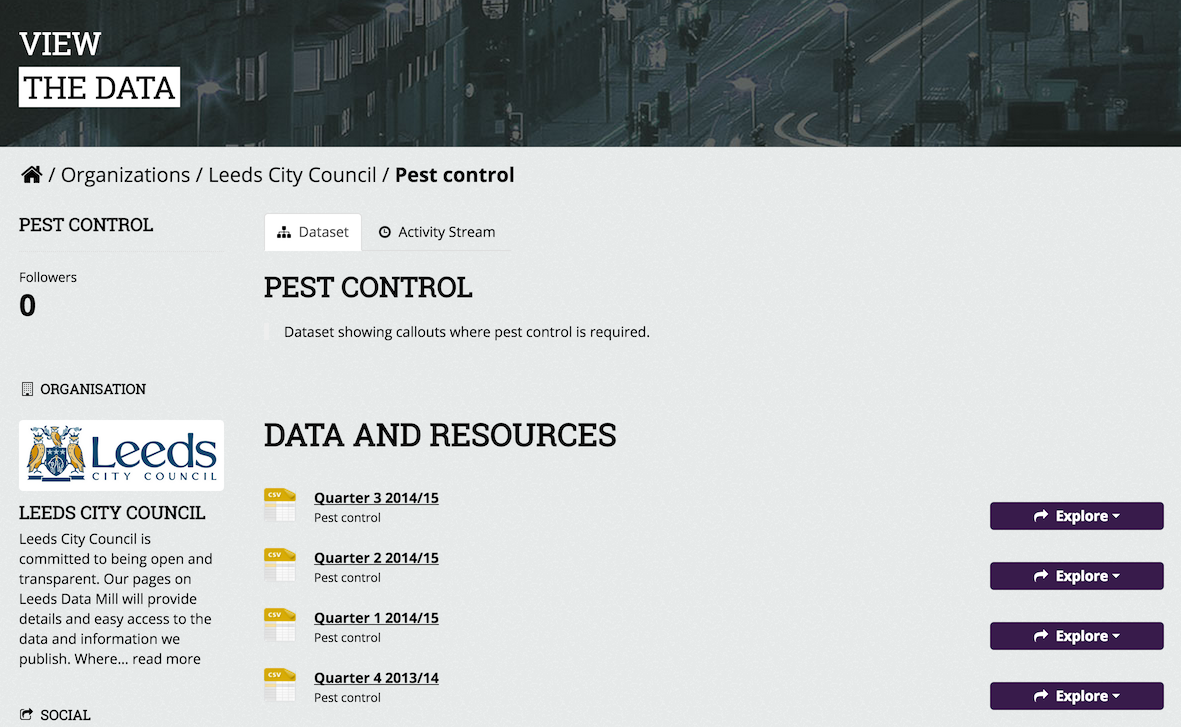 Screenshot of pest control datasets available at Leeds Data Mill